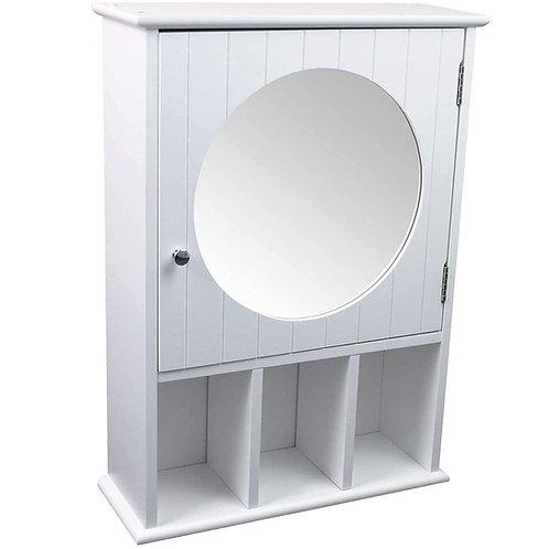 Badschrank Spiegelschrank rund weiß Badezimmerschrank Medizinschrank