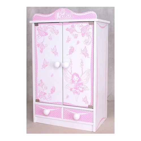 Kinderschrank #822 Puppenschrank 52cm hoch Kleiderschrank Hängeschrank weiß rosa