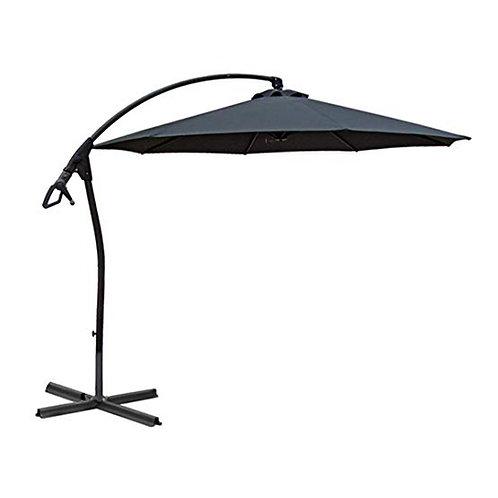 WASSERDICHT Luxus Ampelschirm 3m Anthrazit durch PVC Schirm 300cm Sonnenschirm