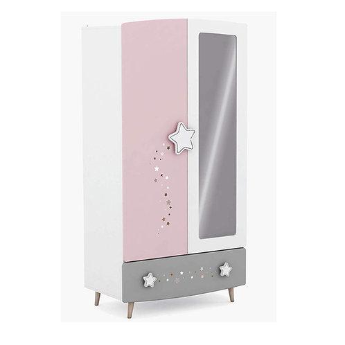 Kleiderschrank Himmelssterne #441 rosa/weiß Echtolz + MDF Mädchen Kinderzimmer