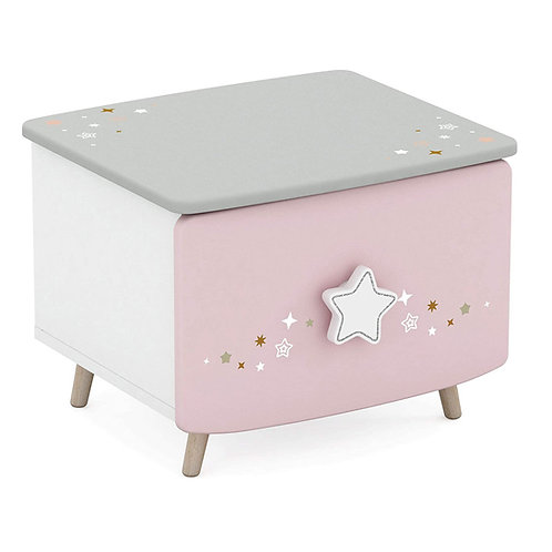 Nachtkommode Himmelssterne #442 rosa/weiß Echtolz + MDF Mädchen Kinderzimmer