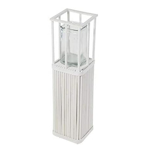 Windlicht Shabby weiß Garten Laterne Fackel Holz Glas Kerzenhalter Teelicht