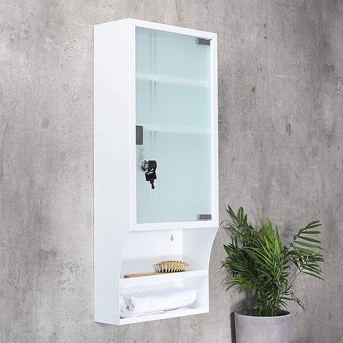 Badschrank Medizinschrank Hängeschrank extra hoch weiß Glastür abschließbar