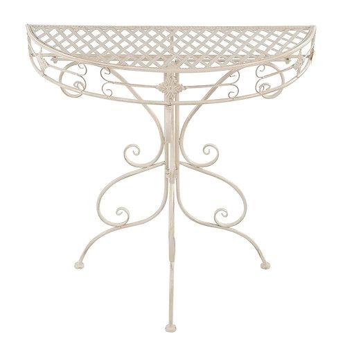 Gartentisch halbrund aus Metall in weiß Beistelltisch Kaffeetisch Garten