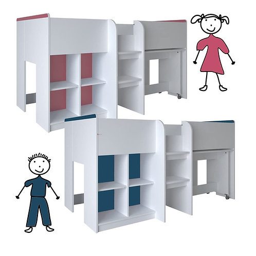 Kinderbett HOCHBETT weiß rosa/blau Schreibtisch Regal Treppe KOMBIBETT 90x190cm