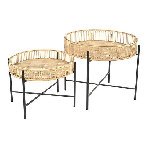 2er Set Beistelltisch Aiko aus Bambus und Metall für Terasse Garten, das Haus