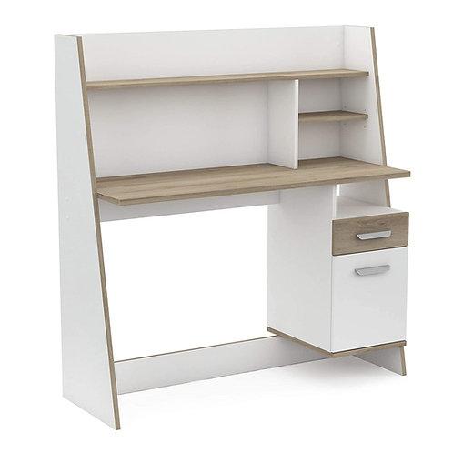 Moderner Schreibtisch mit Kabeldurchlass, 2x Schublade, Rückwand und Regale