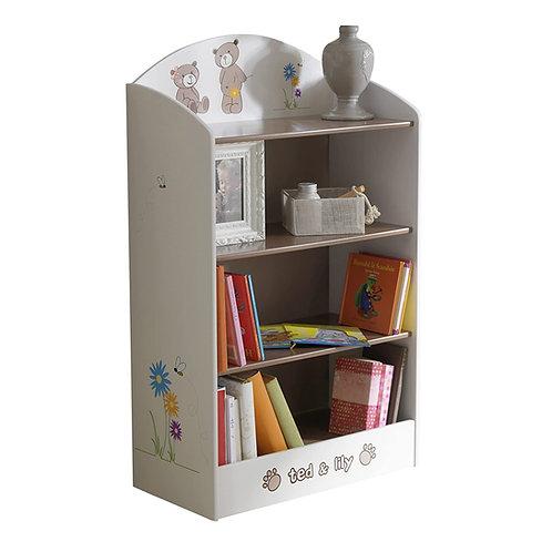 Bücherregal Ted und Lily für Kinderzimmer 60 x 100 x 30 cm, beige / chocolate