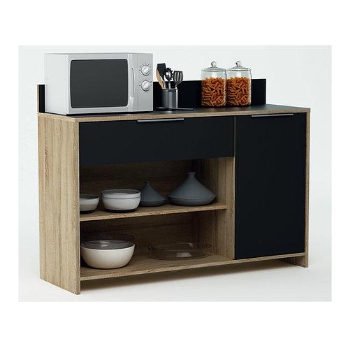 Küchenschrank 223 Eiche-schwarz Schrank Küchenregal Küchenmöbel Singleküche Holz