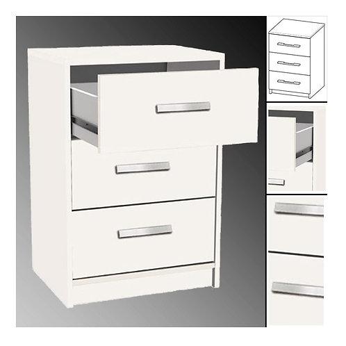 NACHTTISCH #128 weiß 3X Schublade Holz Nachtschrank Nachtisch Nachtschränkchen
