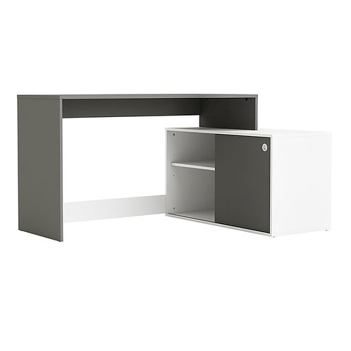 Eck - Schreibtisch Weiss ANTHRAZIT 241 Schiebetür Computertisch PC grau
