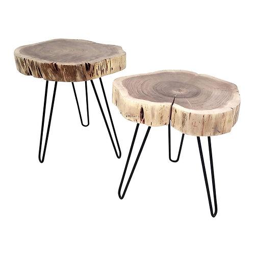 2er-Set Beistelltisch Couchtisch Dickes Massivholz rustikal Tischset Tische
