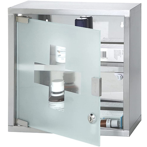 Medizinschrank XL Edelstahl abschließbarer Arzneischrank Erste-Hilfe-Schrank