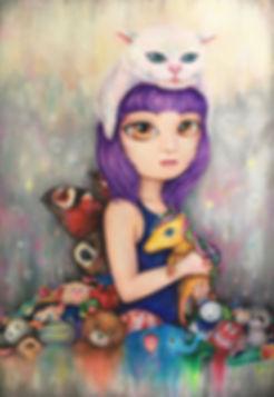 "<A girl and unicorn> ,Acrylic,24 x36"""