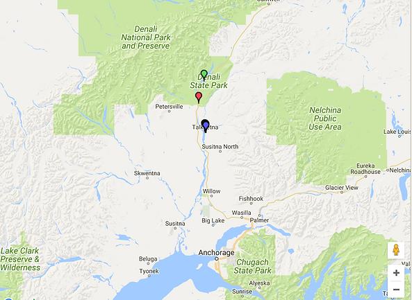 Map of Southcentral Alaska including Talkeetna and Denali National Park