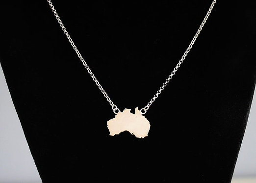 Australia Necklace Solid Silver 925 Continent Country Province State Necklace
