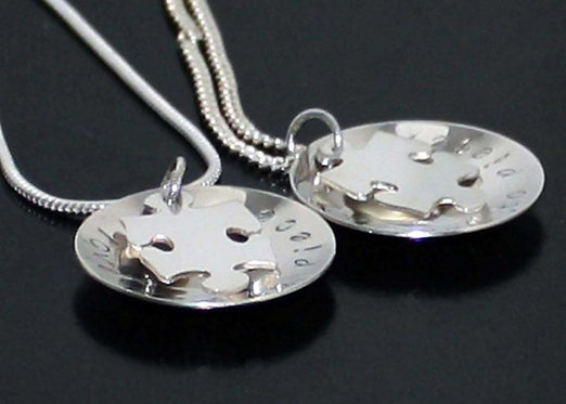 Sterling Silver Puzzle Necklace, personalized puzzle pendant, love you to pieces
