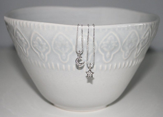 Crescent Moon Necklace or Star Necklace in Sterling Silver Delicate Minimalist