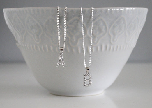Initial Necklace in Sterling Silver with Cubic Zirconia