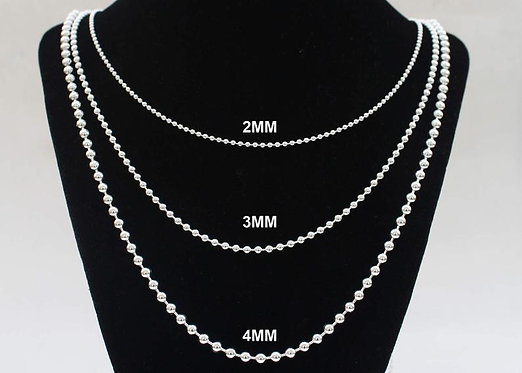 Ball Chain Necklace Sterling Silver 2mm 3mm 4mm