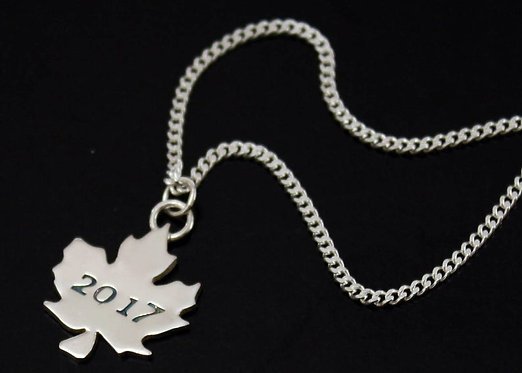 Maple Leaf Necklace Sterling Silver maple leaf personalized pendant, Canada 150
