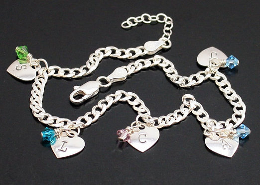 Sterling Silver Heart Anklet, Personalized Heart, Initials Anklet