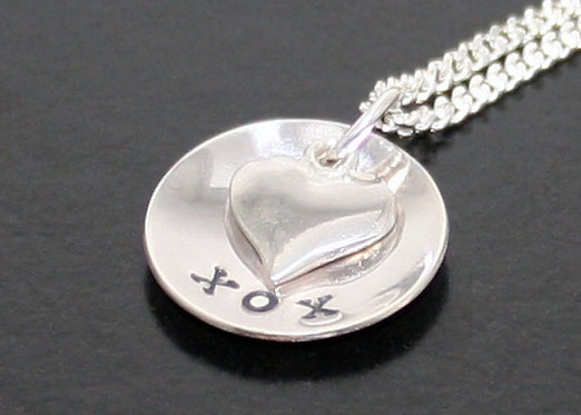 Kiss hug kiss necklace boyfriend girlfriend necklace sterling silver heart