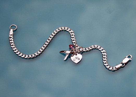 Breast Cancer Awareness Bracelet, Pink Ribbon Bracelet, Sterling Silver Heart