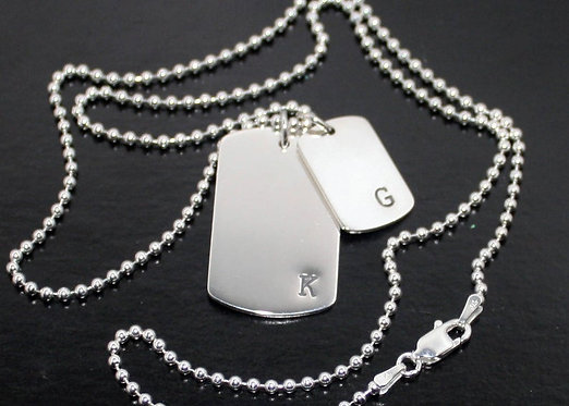 Dog Tag Necklace Silver Boyfriend Girlfriend Mother Daughter