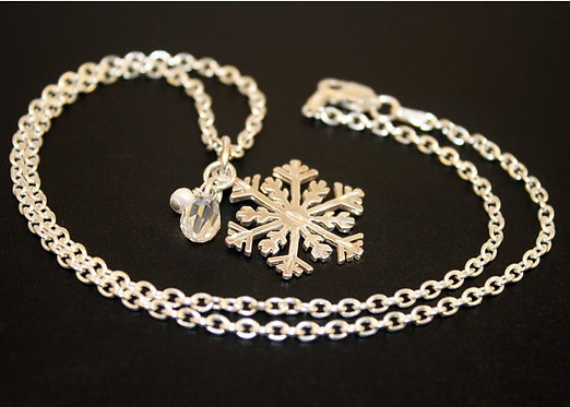 Snowflake Necklace, Solid Silver, Snowflake Icicle Pendant, Christmas Necklace