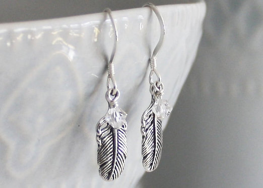 Feather Earrings Sterling silver with Crystal bead Accent, Birthstone earrings