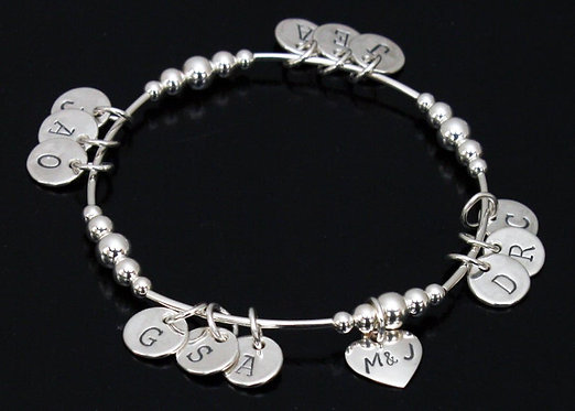 Mothers Day Bracelet Sterling Silver Stretch Bracelet, Grandchild Bracelet