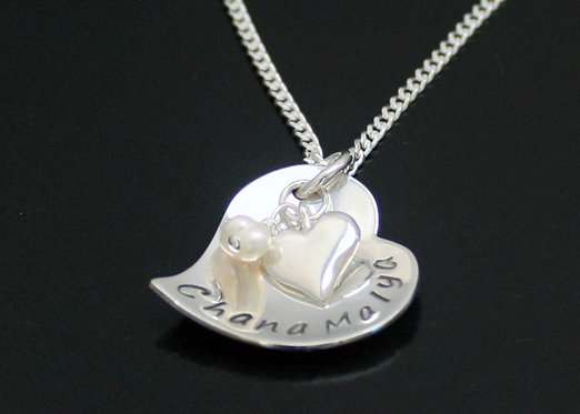 Personalized heart necklace, sterling silver name date heart necklace, bride nec