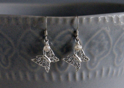 Butterfly Sterling Silver Earrings with Crystal bead or Pearl Accent