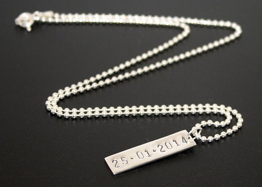Mens Sterling Silver Dog Tag, Personalized Roman Numeral dog tag pendant