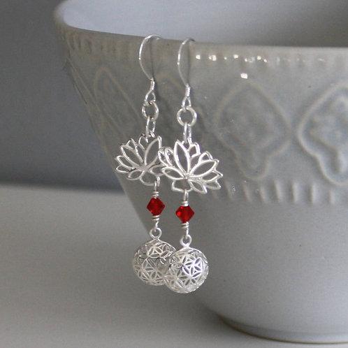 Sterling Silver Lotus Flower Seed of Life Earrings, Birthstone earrings