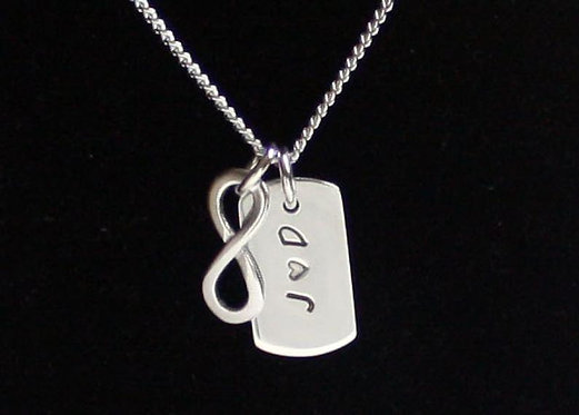 Sterling Silver Dog Tag Infinity Necklace