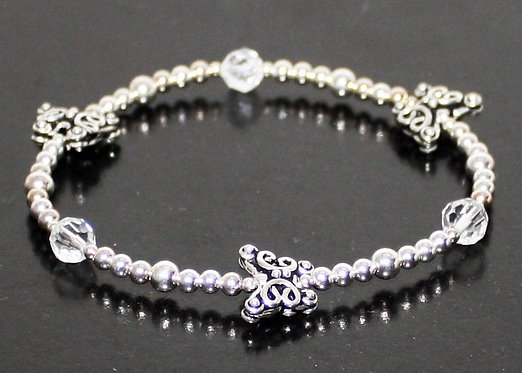 Sterling Silver Butterfly Bracelet, Charm Bracelet, Elasticated Stretch .925