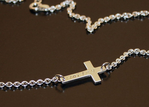 Sideways Cross Sterling Silver Necklace, Personalized Baptism Gift, Confirmation