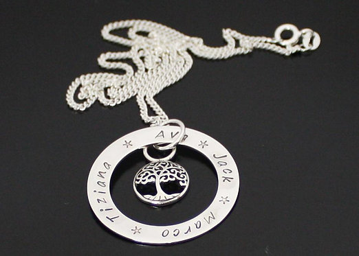 Personalized Tree of Life Necklace in Sterling Silver