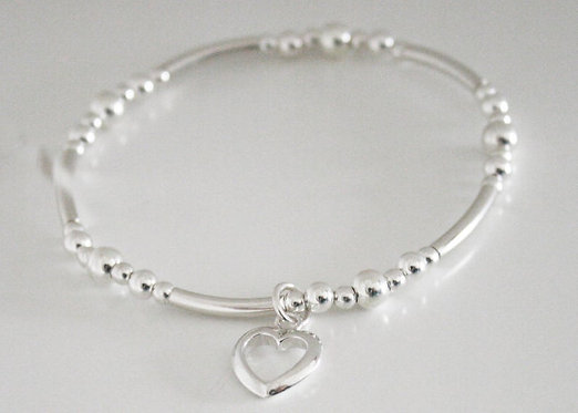 Mothers Day heart bracelet, sterling silver bracelet, bracelet, elasticated stre