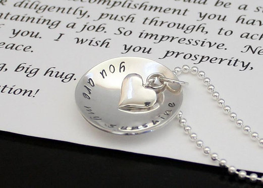 You are my Sunshine Necklace Personalized (Two Sided) Sterling Silver