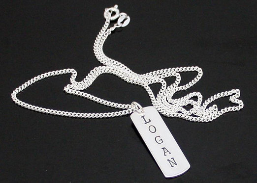 Sterling Silver Dog Tag Name Necklace