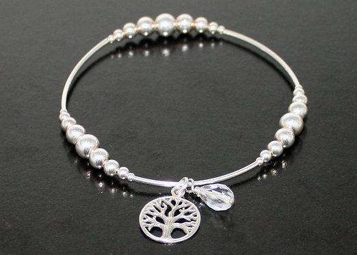Sterling Silver Tree of Life Bracelet, Charm Bracelet, Elasticated Stretch