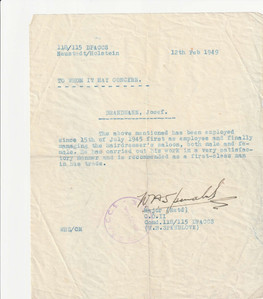 Letter from Major confirming Joseph worked since July 15, 1945