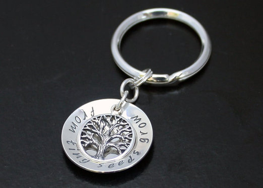 Tree of Life Solid Sterling silver personalized key chain. TWO SIDED