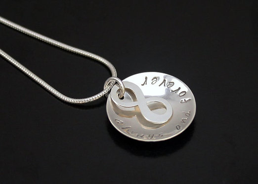 Sterling Silver Infinity Necklace, personalized infinity pendant