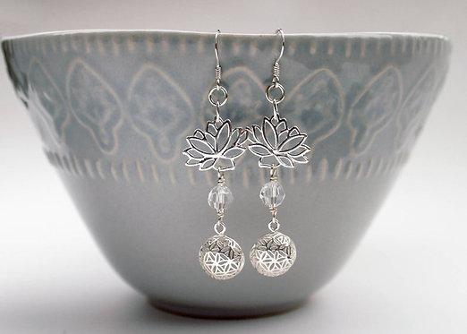 Sterling Silver Lotus Flower Seed of Life Earrings