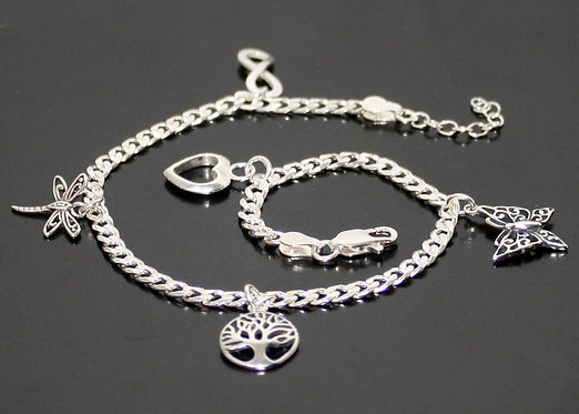 Ankle Chain Anklet Sterling Silver Tree of Life Anklet, Heart, Infinity, Dragonf