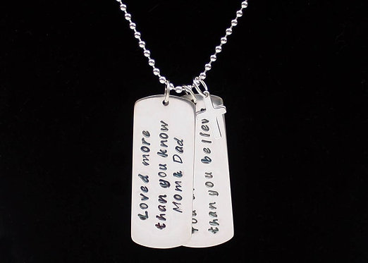 Confirmation necklace, Dog Tag necklace, Baptism necklace